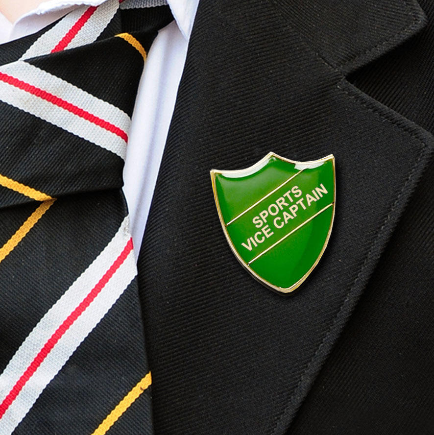 Green Shield Shaped Sports Vice Captain Badge
