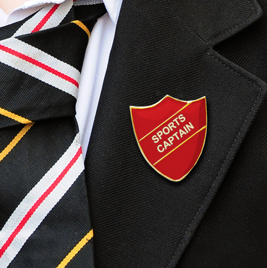 Red Shield Shaped Sports Captain Badge