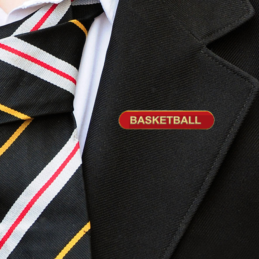 Red Bar Shaped Basketball Badge