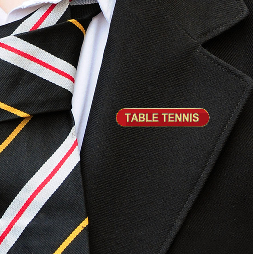 Red Bar Shaped Table Tennis Badge