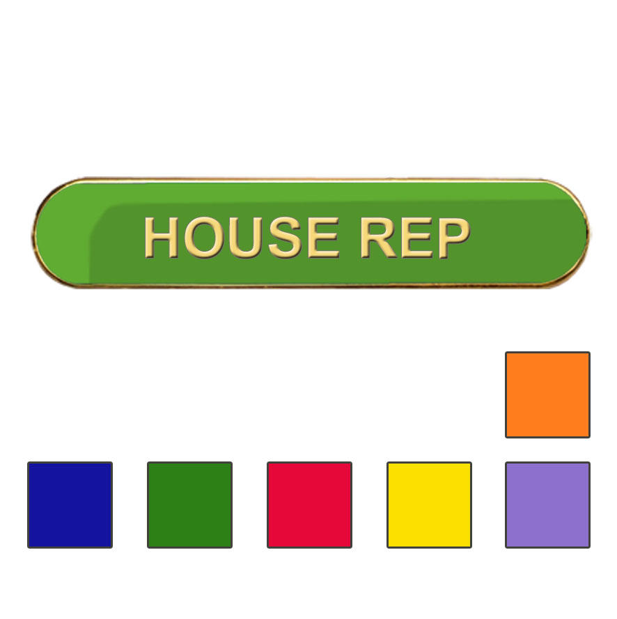 Coloured Bar Shaped House Rep Badges
