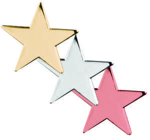 Gold, Silver, Bronze Star Shaped Flat Badges