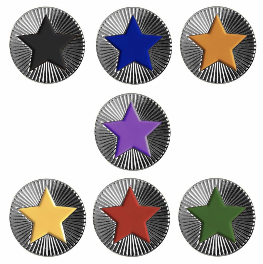 Round on Silver with Star badges