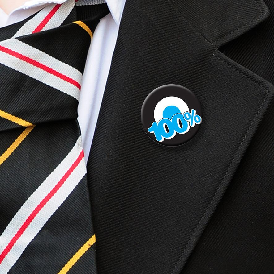 100% attendance badges blue