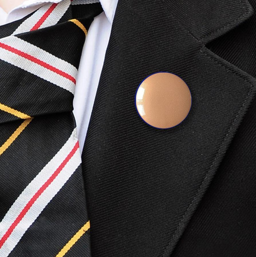 metallic plastic button badge bronze