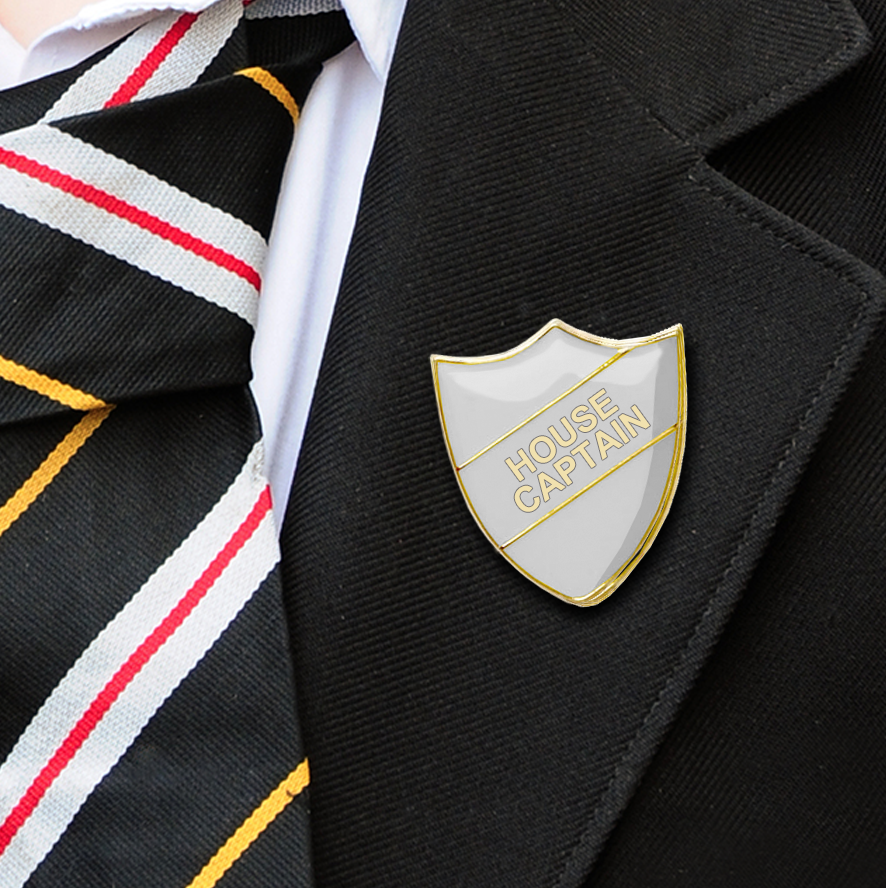 White Shield Shaped House Captain Badge