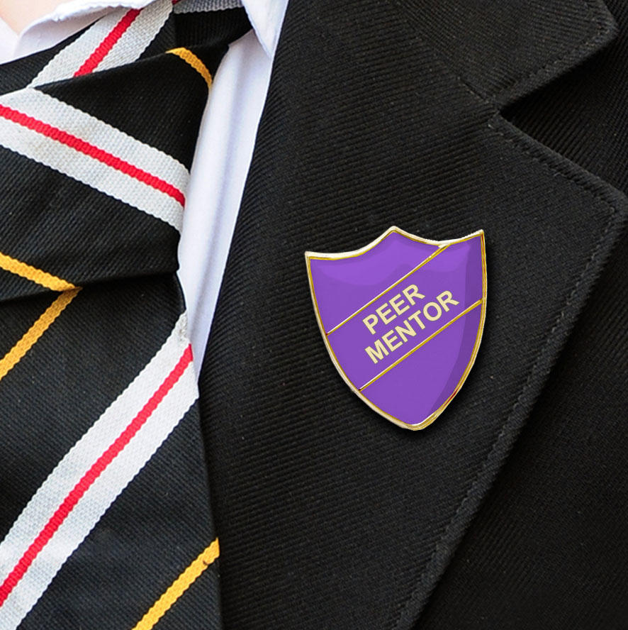 Purple Shield Shaped Peer Mentor Badge