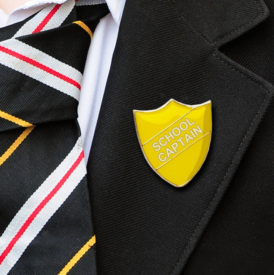 Yellow Shield Shaped School Captain Badge