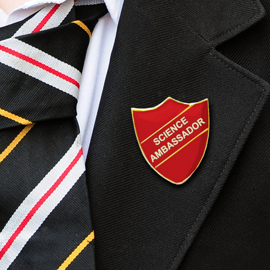 Red Shield Shaped Science Ambassador Badge