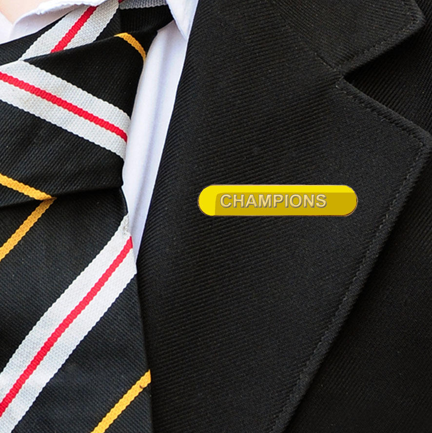 Yellow Bar Shaped Champions Badge