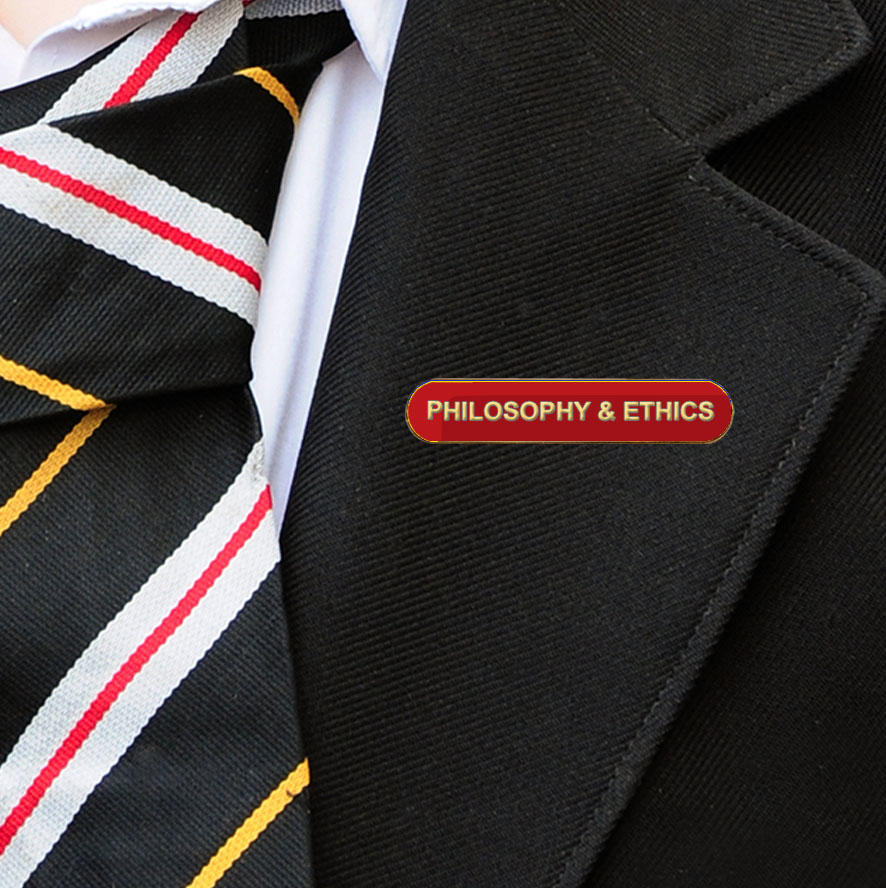 Red Bar Shaped Philosophy & Ethics Badge