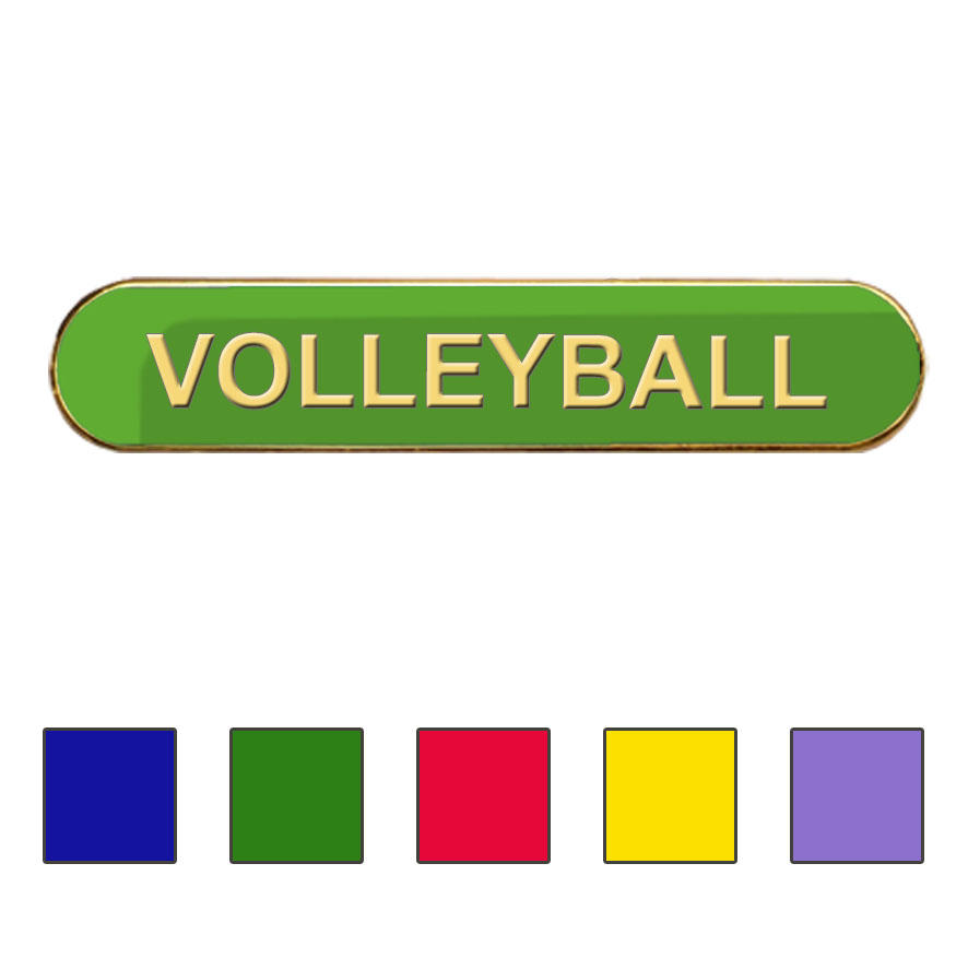 Coloured Bar Shaped Volleyball Badges