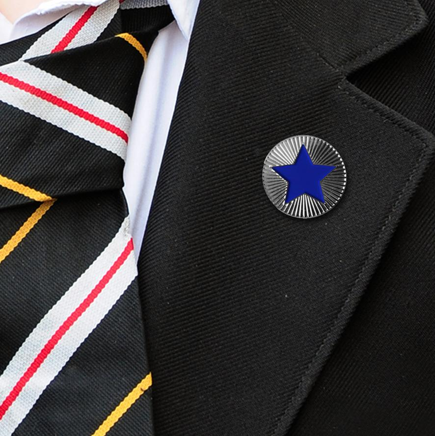 Round on Silver with Blue Star badges