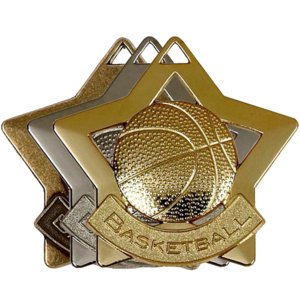 Gold, Silver, Bronze Star Shaped Basketball Badges