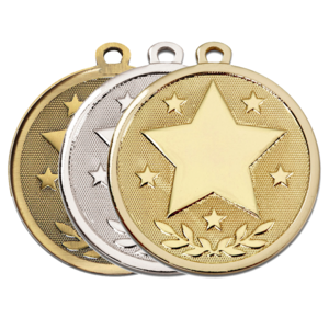 Gold, Silver, Bronze Galaxy Star Shaped Form Badges