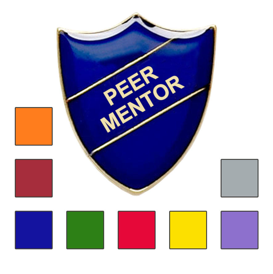 Coloured Shield Shaped Peer Mentor Badges