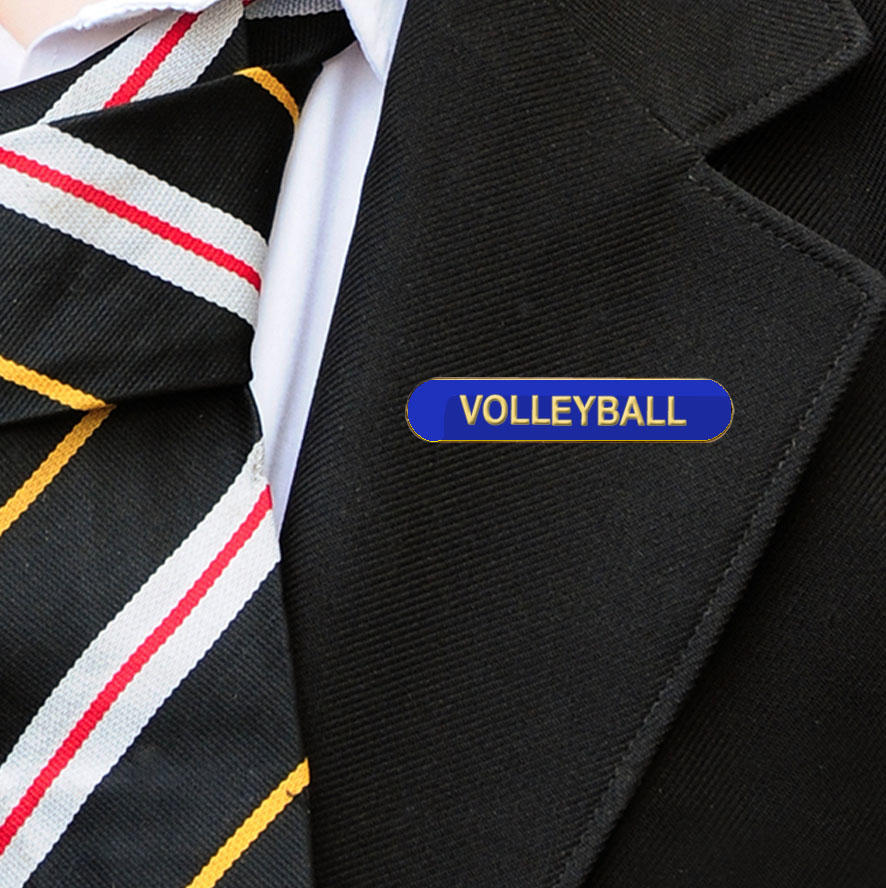 Blue Bar Shaped Volleyball Badge