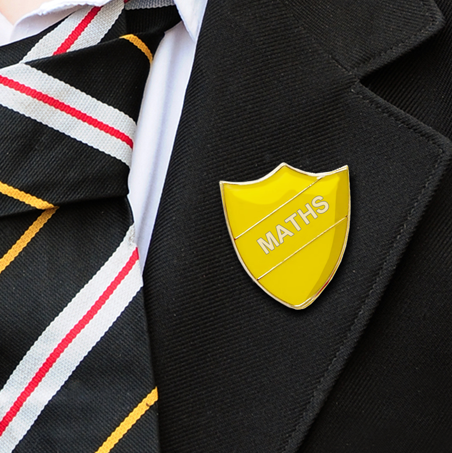 Yellow Shield Shaped Maths Badge