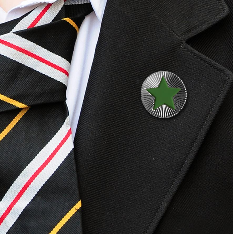 Round on Silver with Green Star badges