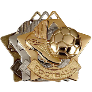 Gold, Silver, Bronze Star Shaped Football Badges