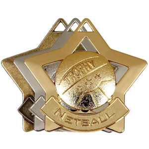 Gold, Silver, Bronze Star Shaped Netball Badges