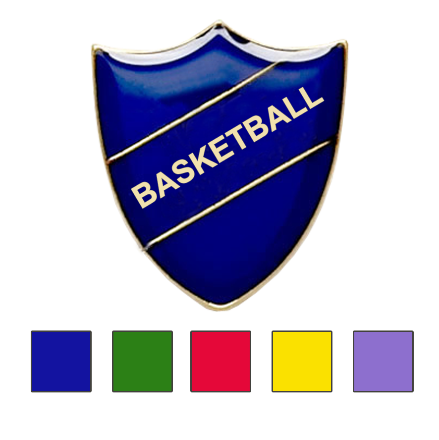 Coloured Shield Shaped Basketball Badges