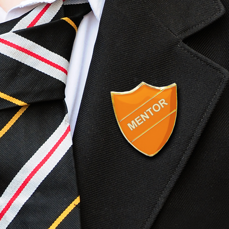 MENTOR SHIELD SCHOOL BADGE ORANGE