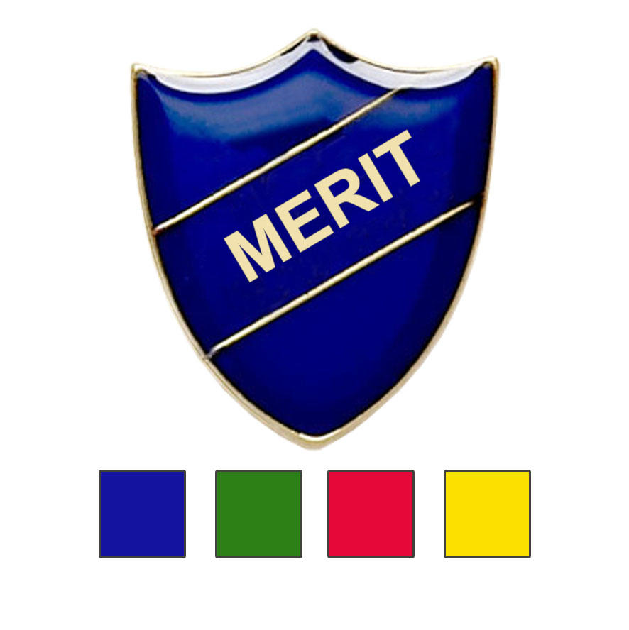 Coloured Shield Shaped Merit Badges