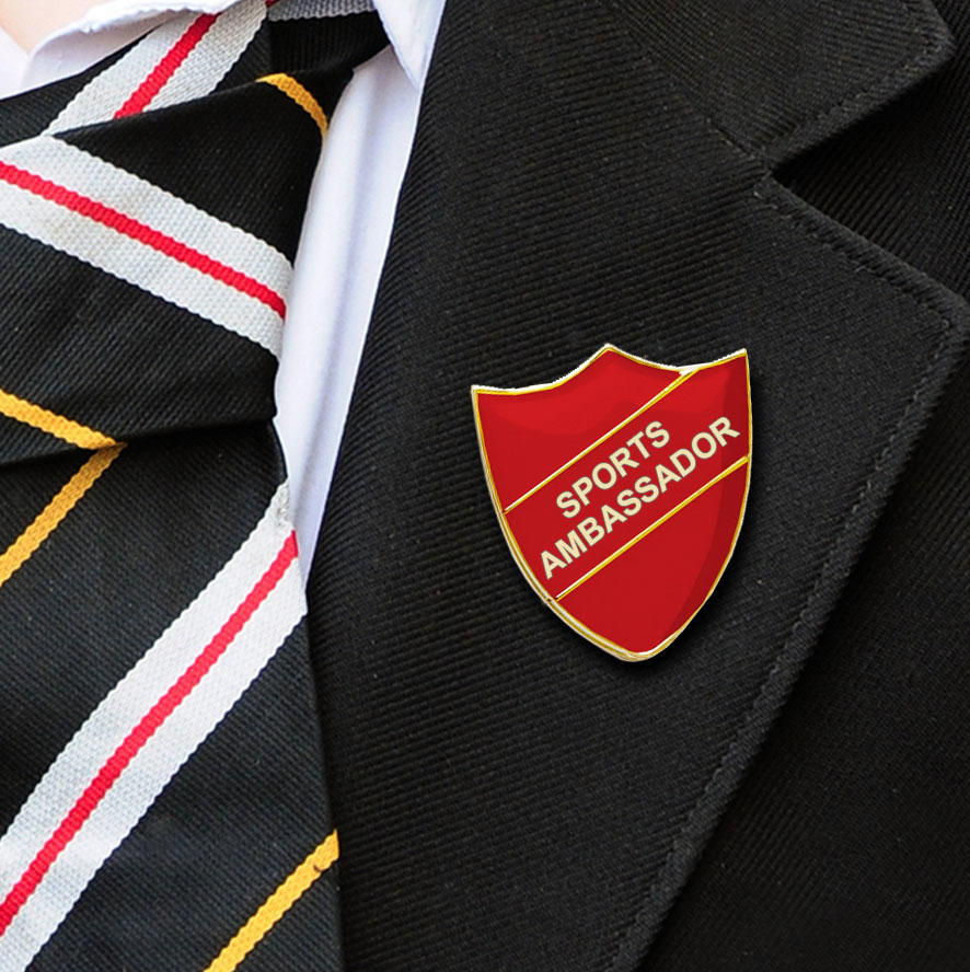 Red Shield Shaped Sports Ambassador Badge