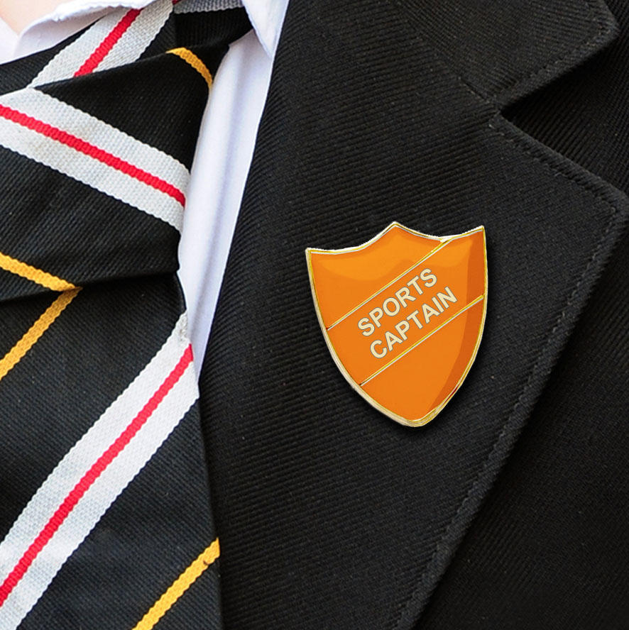 Orange Shield Shaped Sports Captain Badge