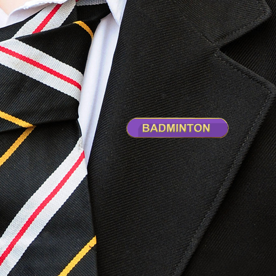 Purple Bar Shaped Badminton Badge
