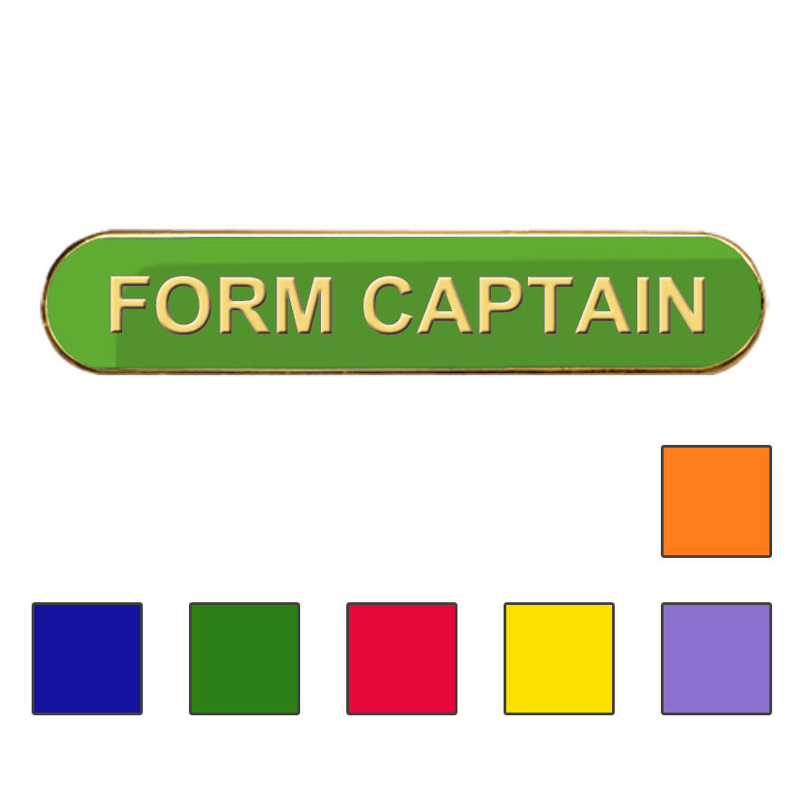 Coloured Bar Shaped Form Captain Badges