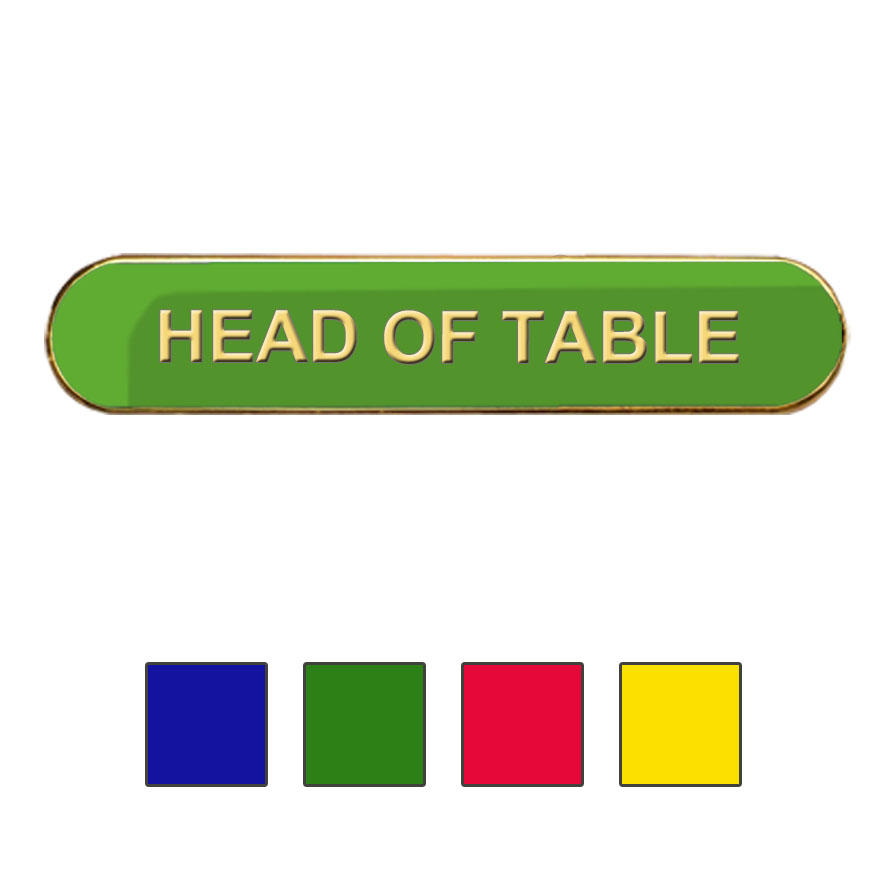 Coloured Bar Shaped Head of Table Badges
