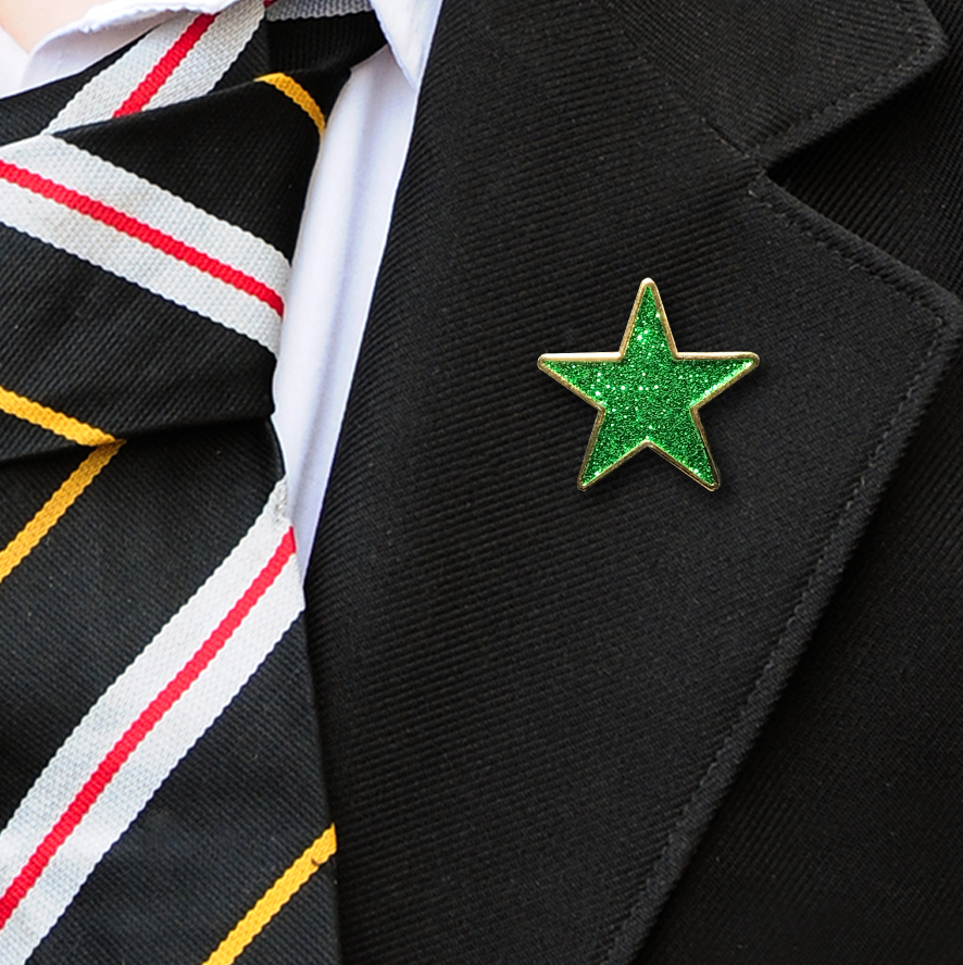 Green Star Shaped Glitter Badge