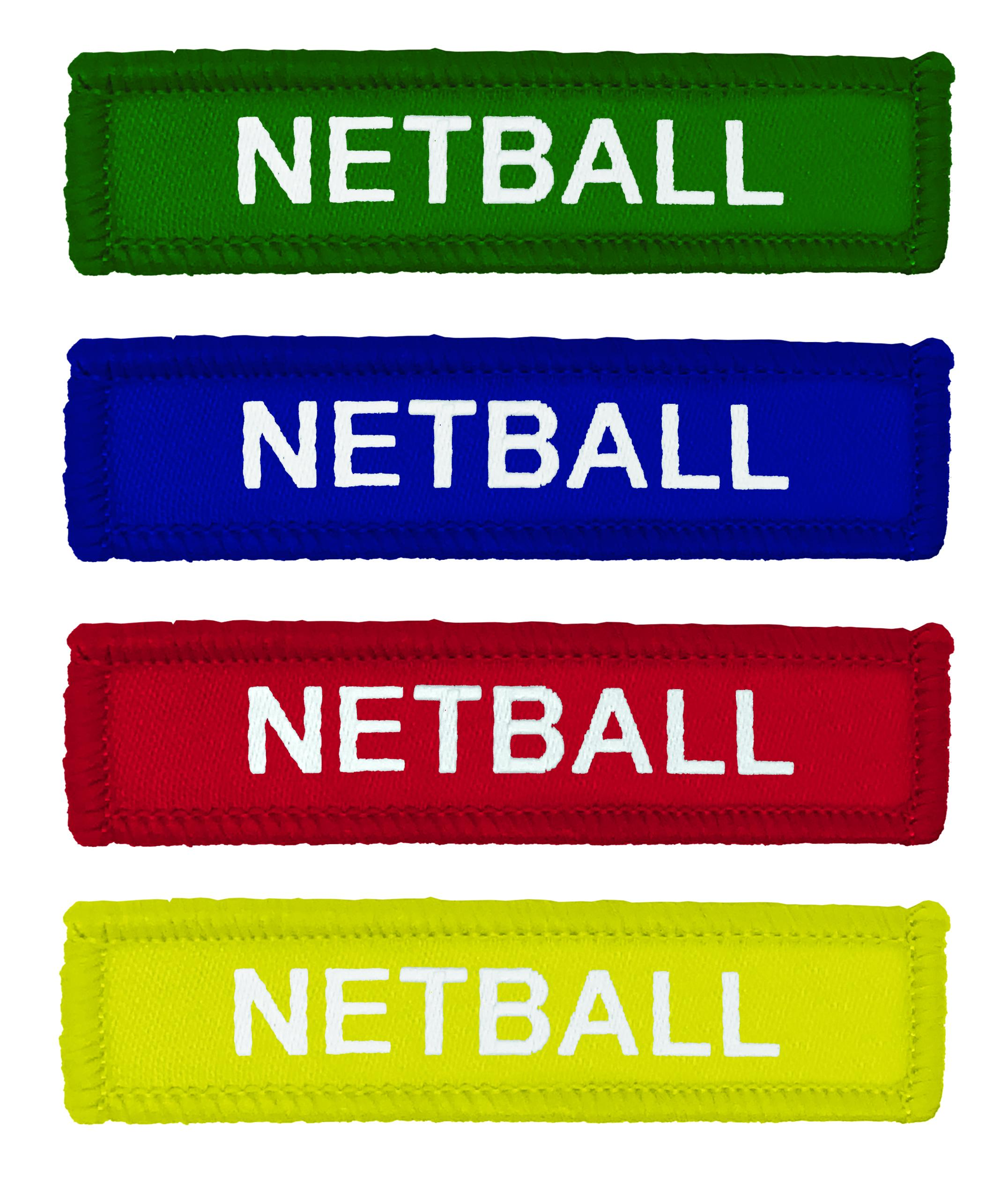 Coloured Woven Netball Badges