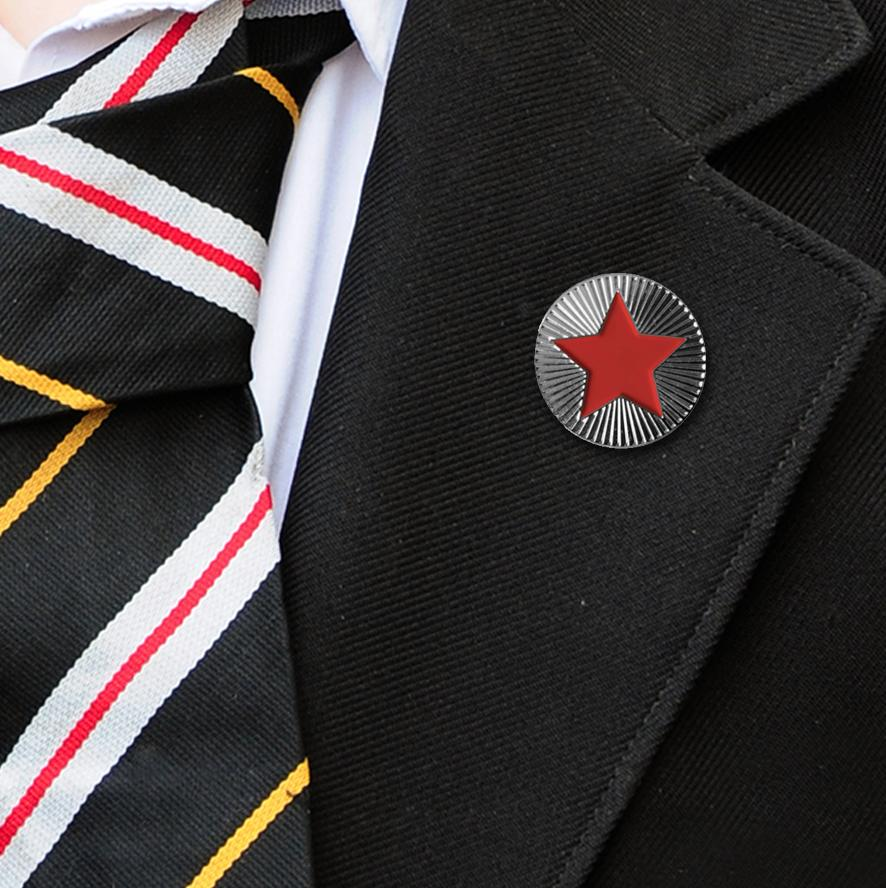 Round on Silver with Red Star badges