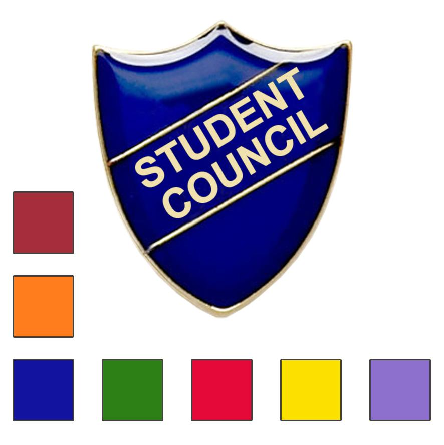 Coloured Shield Shaped Student Council Badges