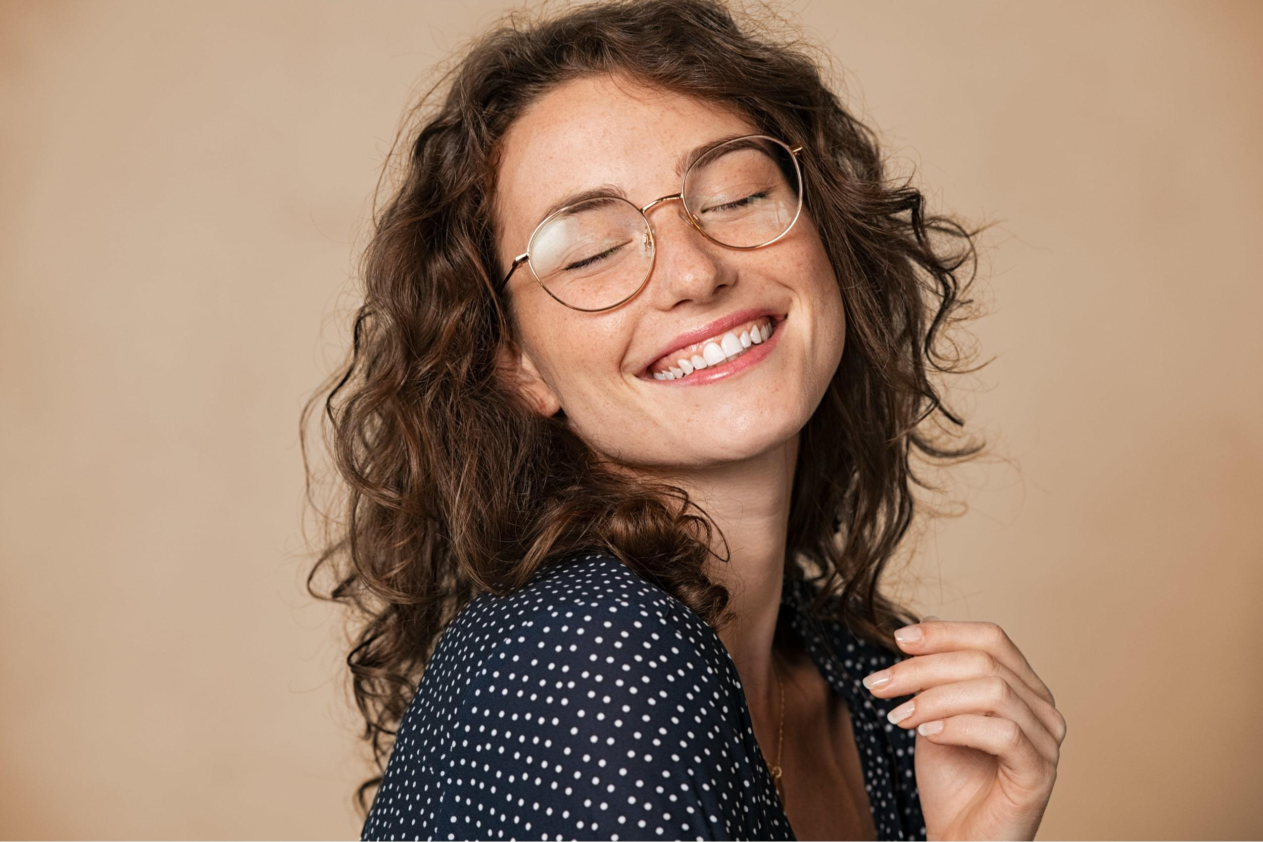 Smiling with glasses