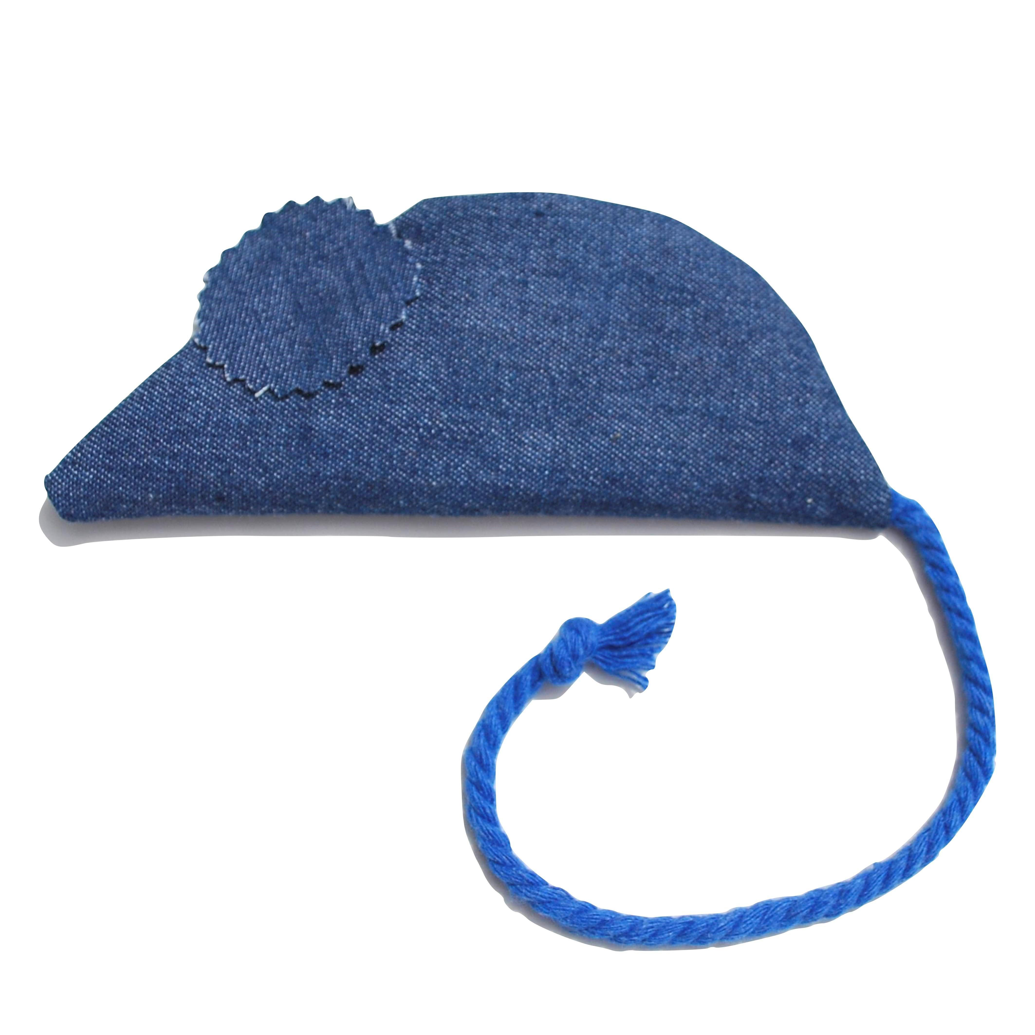 organic catnip denim mouse with blue tail