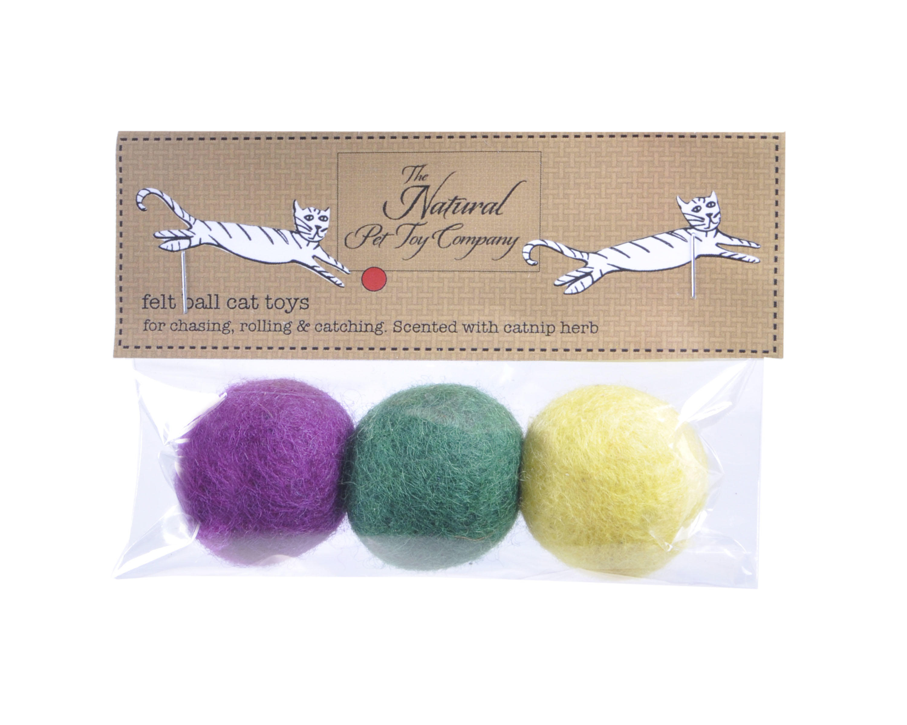 Felt ball cat toys in packaging