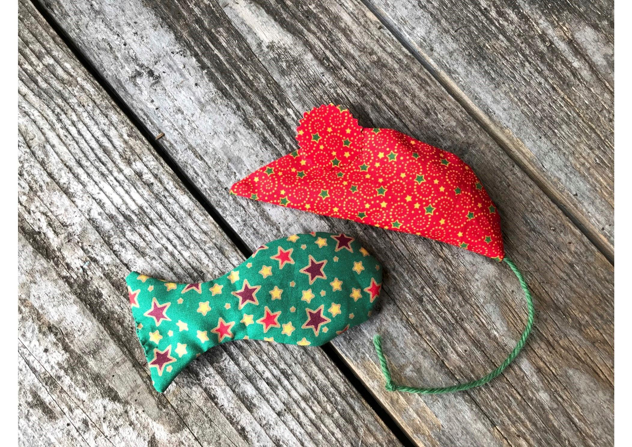 Christmas cat toy 2 pack mouse and fish