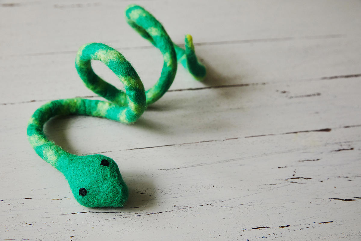 green felt snake cat dangle toy from The Natural Pet Toy Company