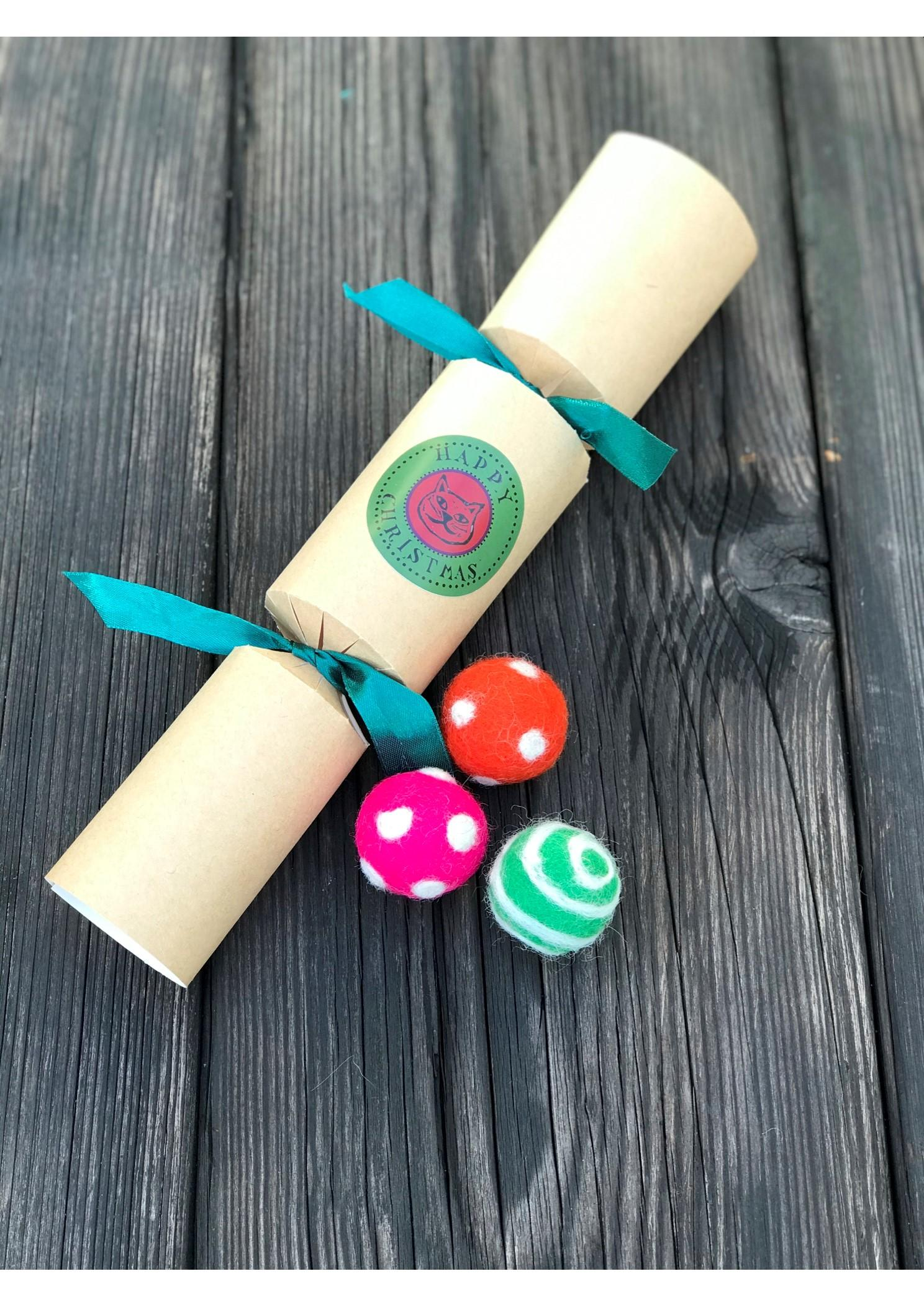 Christmas Cracker Cat Gift | Catnip Infused Felt Ball Toys