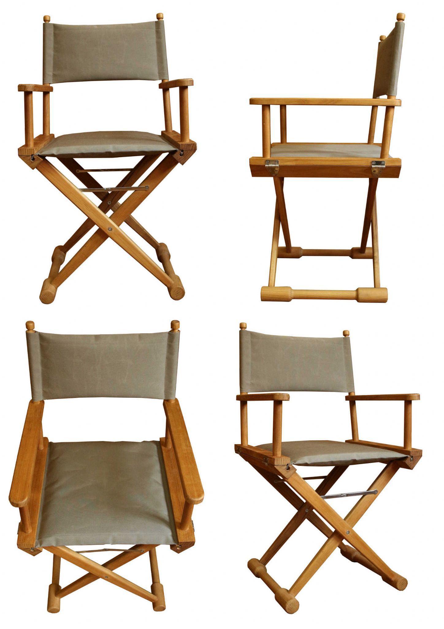 Teak Deluxe Directors Chair Taupe Marine Teak