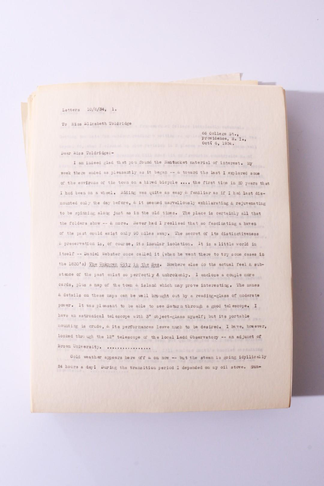H.P. Lovecraft - Typescript for the Fifth Volume of Lovecraft's Letters as Published by Arkham House - Arkham House, c1976, Manuscript.
