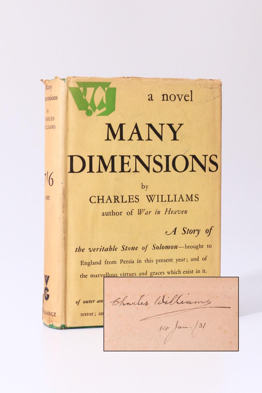 Charles Williams - Many Dimensions - Gollancz, 1931, Signed First Edition.