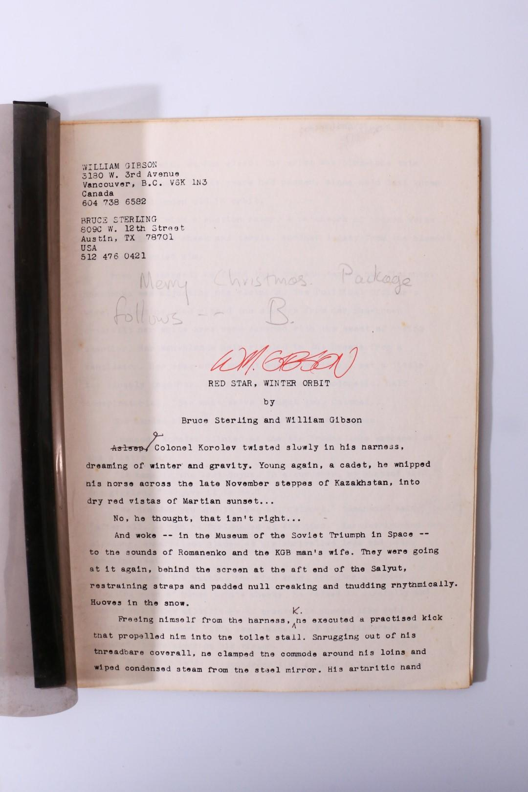 William Gibson & Bruce Sterling - Red Star, Winter Orbit - Typescript - , n.d. [c1983], Manuscript. Signed