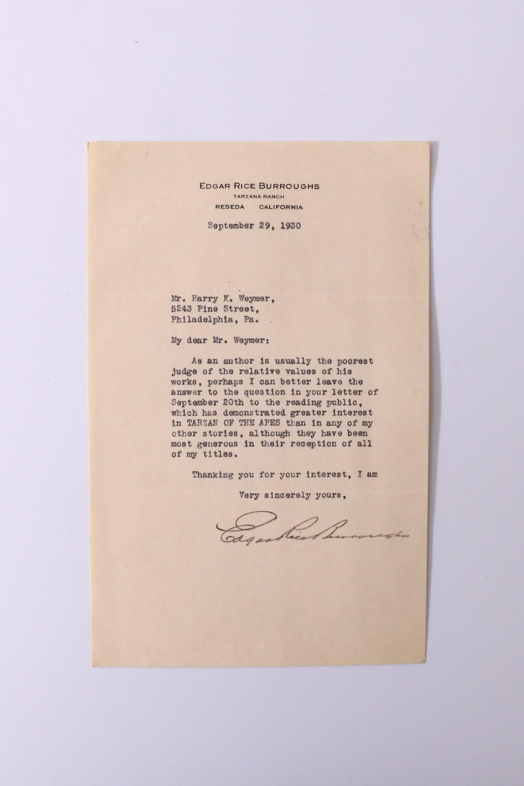 Edgar Rice Burroughs - A Typed Letter Signed [TLS] - , 1930, . Signed