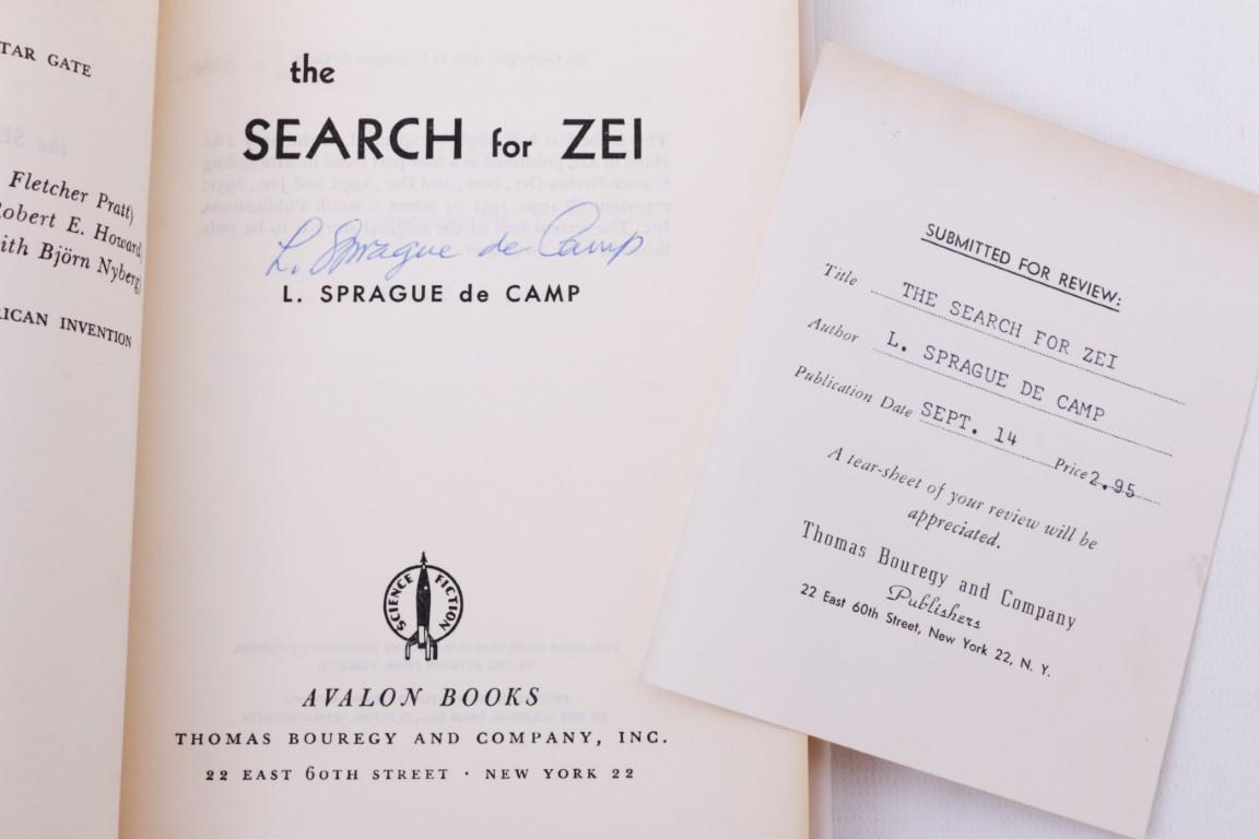L. Sprague De Camp - The Search for Zei with The Hand of Zei - Avalon, 1962-1963, First Edition.  Signed