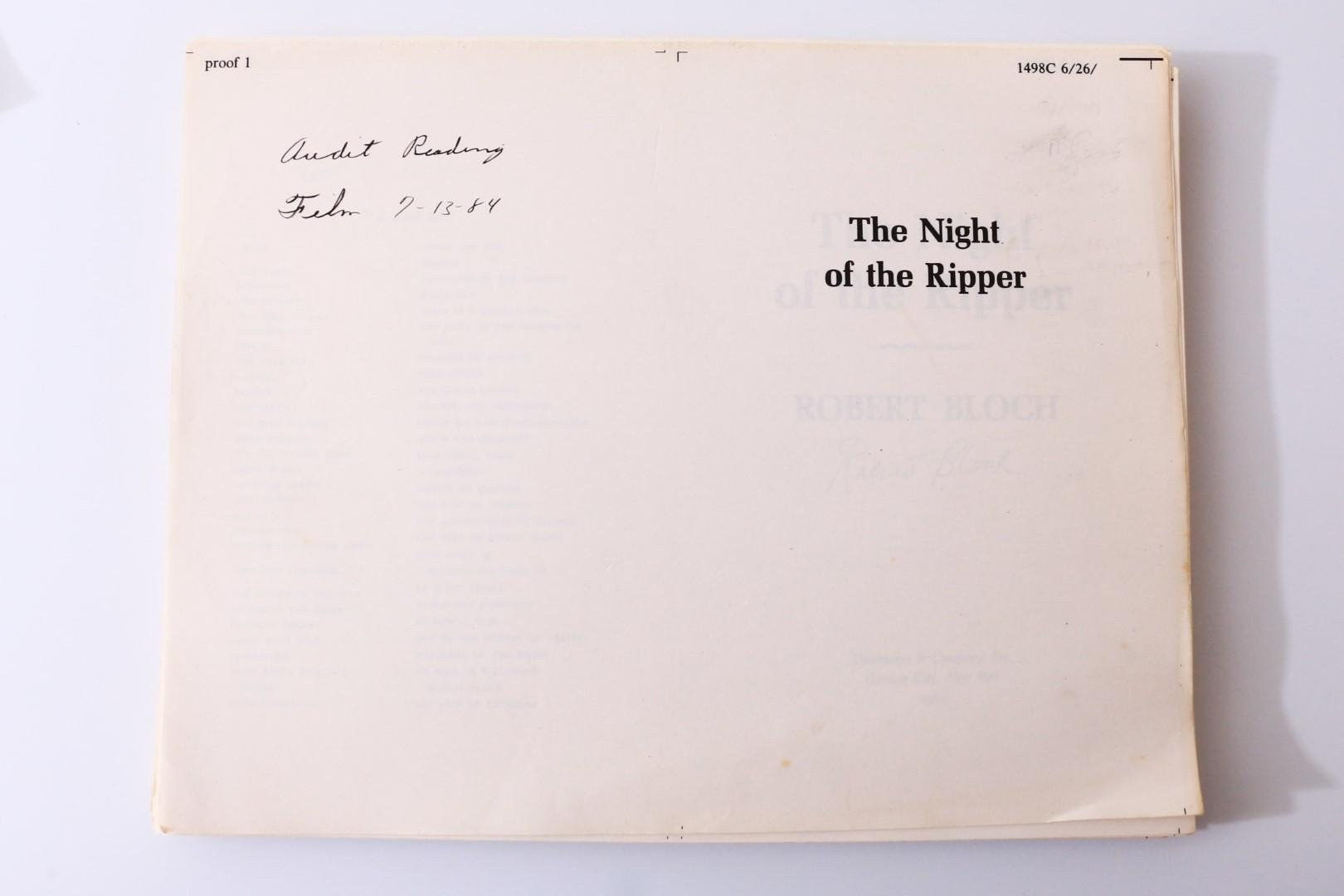 Robert Bloch - The Night of the Ripper MSS and Associated Pieces - Doubleday, 1984, Manuscript. Signed